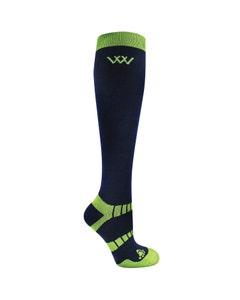 Woof Wear Winter Riding Socks Navy/Lime - Medium