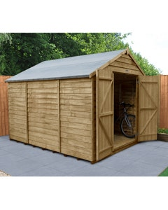 Forest Garden Overlap Pressure Treated Double Door Apex Shed 10ft x 8ft (No Windows) - Unassembled