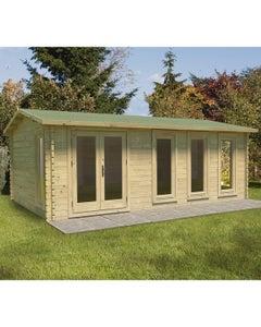 Forest Garden Blakedown Double Glazed Log Cabin 6m x 4m 24kg Felt Roof with Underlay - Unassembled
