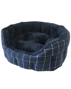 House of Paws Navy Check Tweed Oval Plush Dog Bed – Small
