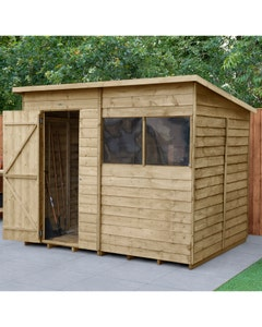 Forest Garden Overlap Pressure Treated Pent Shed 8ft x 6ft - Unassembled