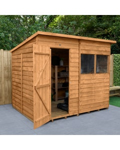 Forest Garden Overlap Dip Treated Pent Shed 8ft x 6ft - Unassembled