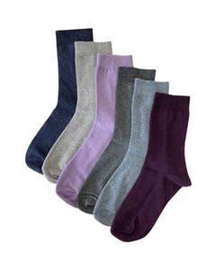 Cleversocks Clevertoez Ladies Plain Knit Socks Assorted - Pack of 6