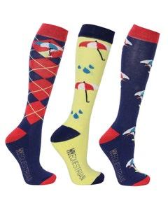Hy Equestrian Ladies Duck Print Socks - Pack of 3