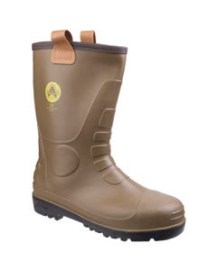 Amblers Adults FS90 Waterproof PVC Pull On Safety Rigger Boots - Tan