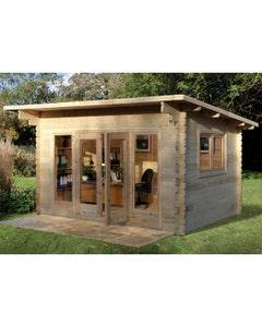 Forest Garden Melbury D/G Log Cabin 4m x 3m 34kg F/R W/U - Unassembled
