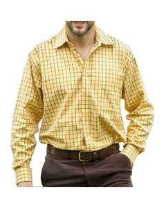Hoggs of Fife Mens Governor Premier Tattersall Shirt - Gold Check