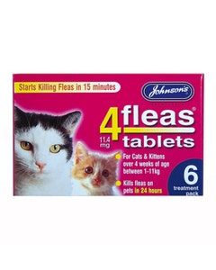 Johnson's 4Fleas Tablets For Cats & Kittens 6 Treatment Pack - 6 x 11.4mg