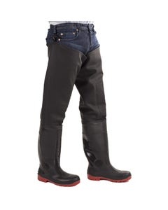 Amblers Adults Rhone Thigh Safety Waders - Black/Red