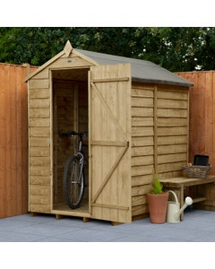 Forest Garden Overlap P/T Apex Shed 6ft x 4ft (No Window) - Unassembled