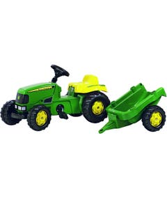 Rolly Kid John Deere Pedal Ride On Tractor with Trailer