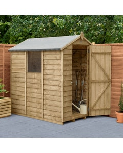 Forest Garden Overlap Pressure Treated Apex Shed 6ft x 4ft - Unassembled
