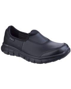 Skechers Ladies Sure Track Slip Resistant Slip On Work Shoes - Black