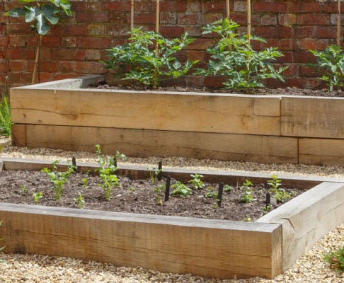 raised beds with sleepers